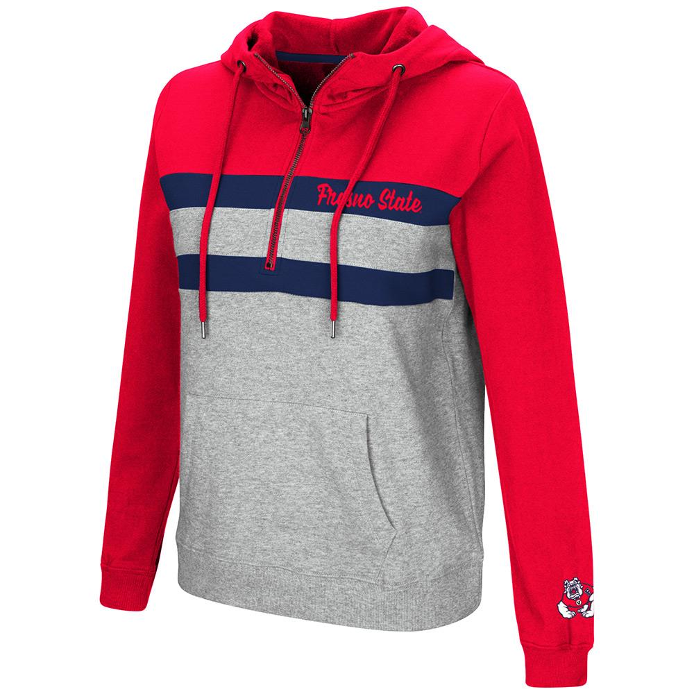 Womens Fresno State Bulldogs Quarter Zip Pull-over Hoodie - S