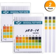 2pack pH Test Strips - pH Test Kit - pH Test Paper to Test Body Acid Alkaline pH Level or Water Quality, High Accuracy and Quick Readout, Full pH Range of 0-14