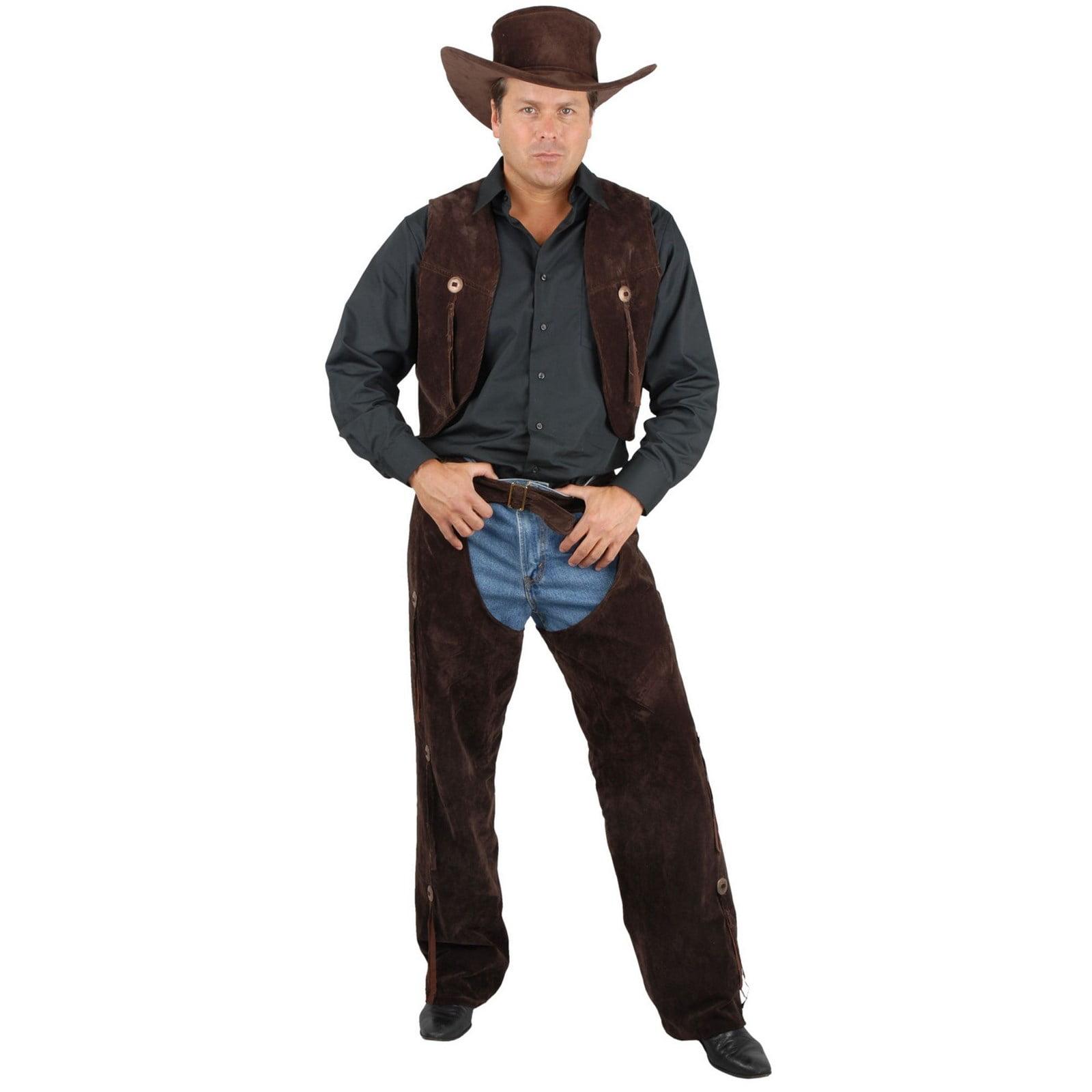 New Cowboy Vest Chaps Set Adult Mens Costume