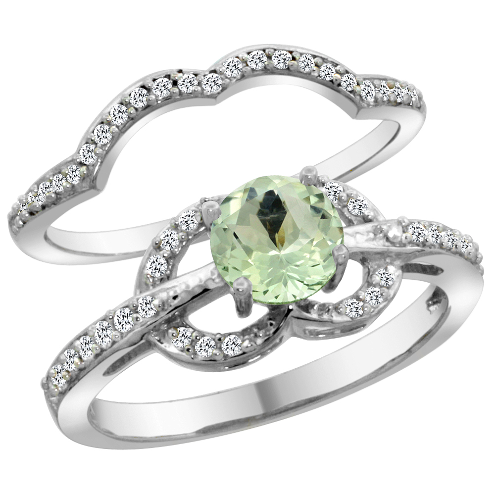 14K White Gold Natural Green Amethyst 2-piece Engagement Ring Set Round 6mm, size 5 by Gabriella Gold