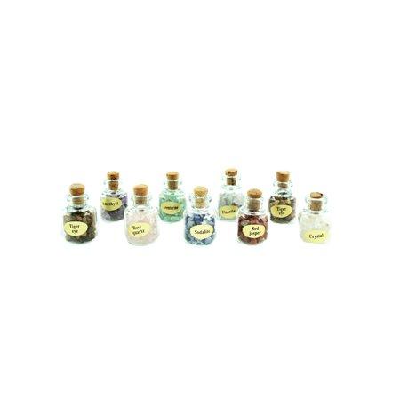 Multi Gemstone Chips Bottles, Set of 9 pcs, All Natural -