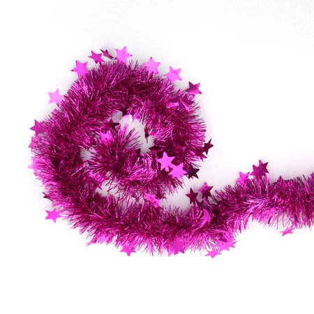 Pink Tinsel Garland Stars Christmas Tree Decorations Party Favors 79