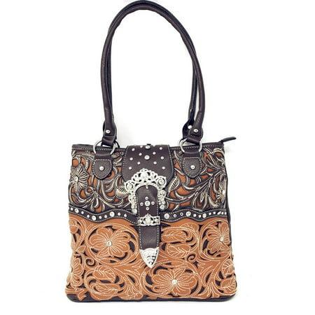 Texas West Concealed Carry Shoulder Handbag Western Purse With Rhinestone Buckle In Multi