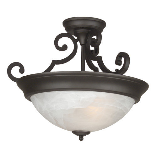 Jeremiah Standard Alabaster Step Pan 2 Light Semi Flush Mount