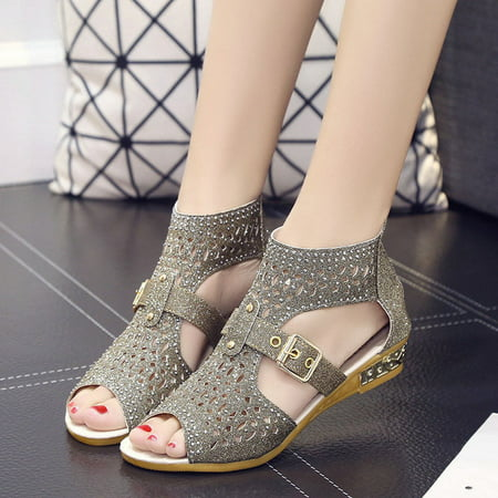 Women Spring Summer Gladiator Sandals PU Leather Zipper Hollow Fish Mouth Buckle High Heels Causal Shoes for Ladies