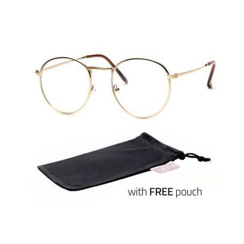 Vintage Style Clear Lens Round Glasses Gold Black Metal Frame Unisex Eyeglasses