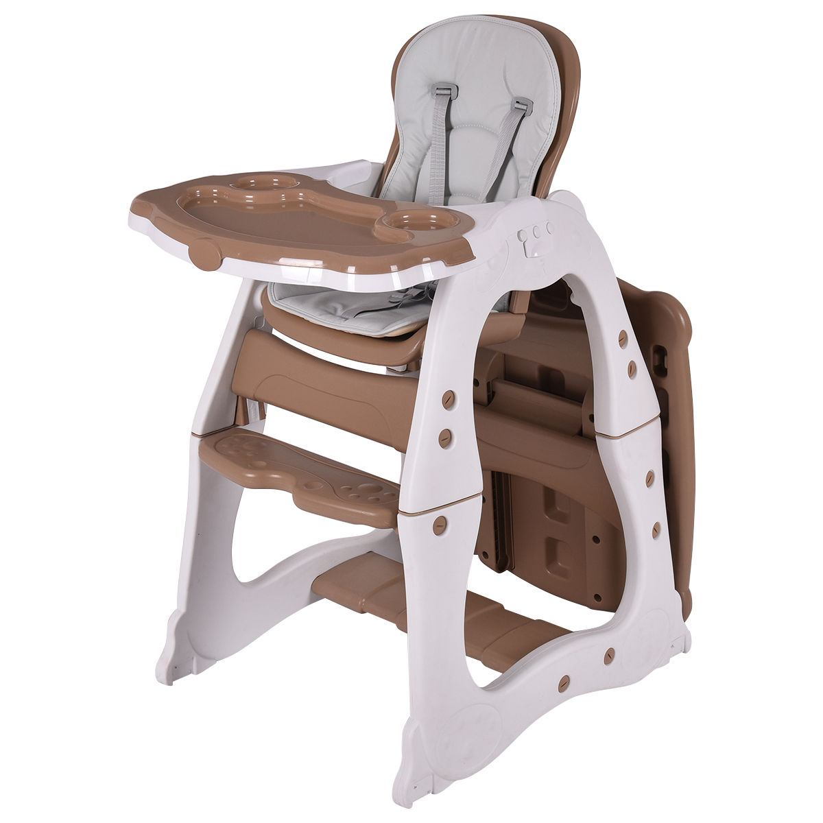 Costzon 3 In 1 Baby High Chair Desk Convertible Play Table Conversion Seat Booster Brown
