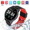 Upgrade 2019 Version Smart Watch for Android iOS Phone, Activity Fitness Tracker Watches Health Exercise Smartwatch with Heart Rate, Sleep Monitor Compatible for Samsung iPhone for Men Women 30 Day Money Back Guaranteed! 12-month free replacement warranty for manufacturer's defects! Product Features: Built-in 180mAh battery, about 2 Hours of charging time, 7 days of standby time. Push support (Caller, SMS Messenger, app news reminders: QQ/Facebook/Twitter/Wechat, etc.) Support heart rate / blood pressure / blood oxygen monitoring, helping you know your body health, and improve your habits and customs. Note: This function is for reference only and can not be used for medical data. Pedometer (Exercise step, calorie consumption, movement mileage record. Support multi sports modes. Help you adjust yourself for a healthier lifestyle. Stay motivated all day. Product Specification: Length: 249mm/7.47'' Material: ABS (Acrylonitrile Butadiene Styrene) + PC (polycarbonate) for case, Eco-friendly rubber for wrist strap Display: 1.3'' TFT Screen Operation: One Touch Power Supply: USB Charging Battery: 180mAh Charging Time: 2-3 Hours Standby Time: 5-7 Days Bluetooth: V4.0 Waterproof Rate: IP67 Heart Rate Monitor: Support Blood Pressure Monitor: Support Blood Oxygen Monitor: Support Sleep Monitor: Support Pedometer: Support Call or Message Reminder: Support Notification: Support Facebook,Twitter,Wechat, WhatsApp etc. Alert Type: Vibration Package Includes: 1 x Smart Watch 1 x USB Charging Cable 1 x User Manua