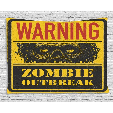 Zombie Decor Tapestry, Warning Outbreak Horror Monster Sign in Vintage Grunge Illustration, Wall Hanging for Bedroom Living Room Dorm Decor, 60W X 40L Inches, Earth Yellow Grey Red, by - Horror Decor