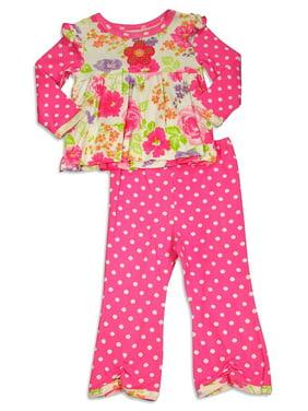 Baby Lulu - Baby Girls Long Sleeve Jill Pant Set PINK / 24 Months