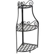 """Panacea 40"""" Forged Corner Plant Stand"""