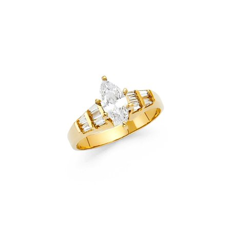 Ladies 14K Solid Yellow Gold Marquise Cut Cubic Zirconia with Baguette Side Stones Wedding Engagement Ring, Size 9.5 ()