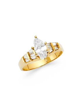 Ladies 14K Solid Yellow Gold Marquise Cut Cubic Zirconia with Baguette Side Stones Wedding Engagement Ring, Size 9.5