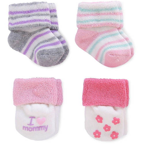 Child of Mine by Carter's Newborn Baby Girl Terry Cuff Socks, 4 Pack