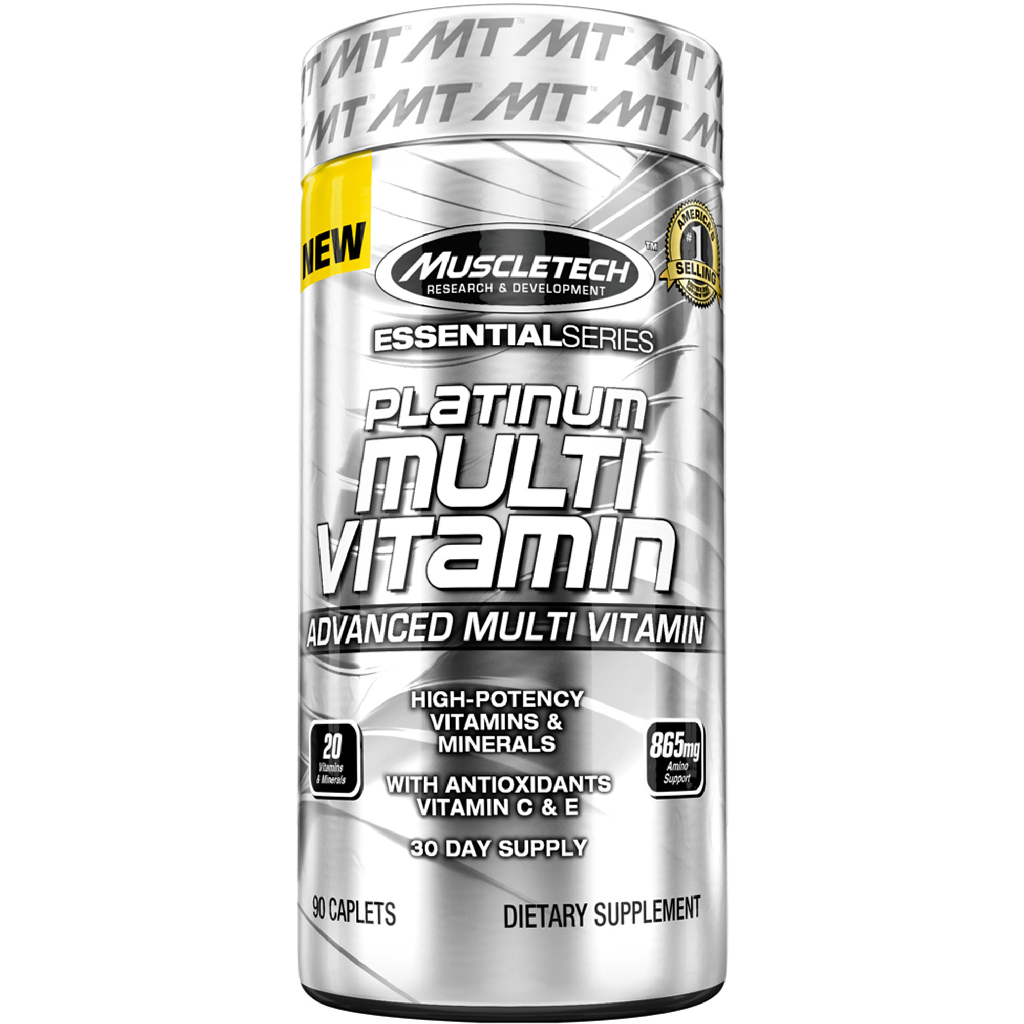 MuscleTech Essential Series Platinum Multi Vitamin Dietary Supplement Caplets, 90 count