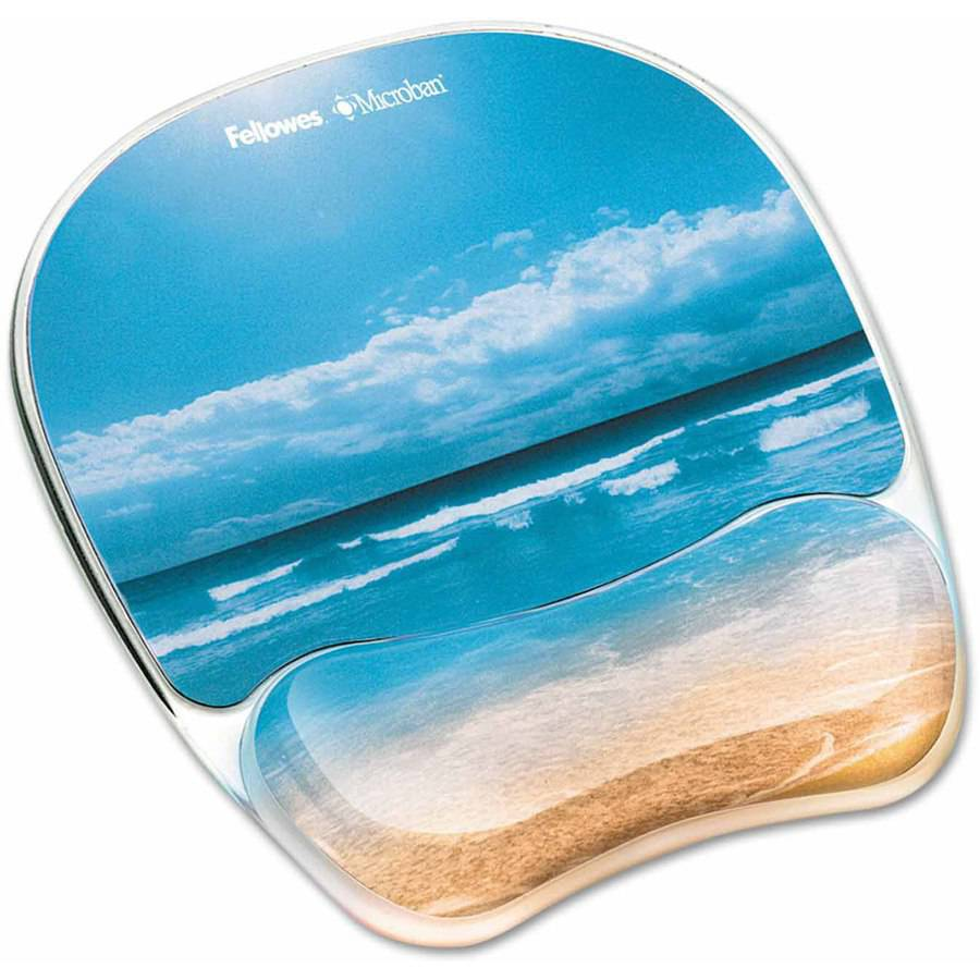 "Fellowes Gel Mouse Pad with Wrist Rest, Photo, 9-1/4"" x 7-1/3"", Sandy Beach"