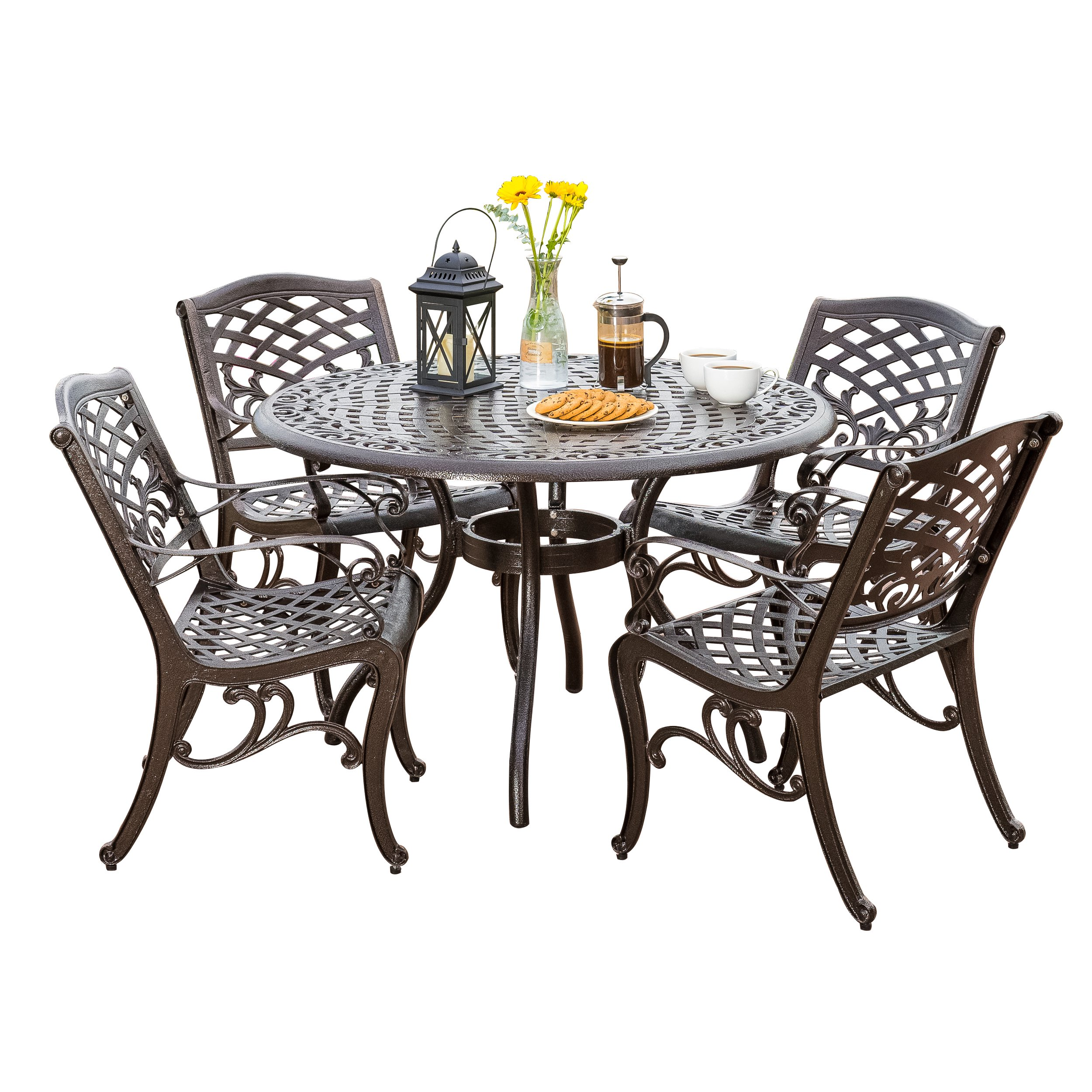 Noble House Bronze 5 Piece Cast Aluminum Bronze Outdoor Dining Set