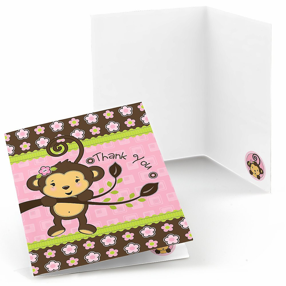 Monkey Girl - Baby Shower or Birthday Party Thank You Cards (8 count)