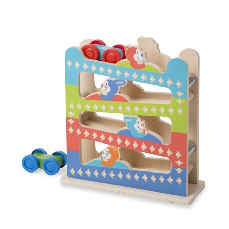 Melissa & Doug First Play Roll & Ring Ramp Tower With 2 Wooden Cars](Melissa And Doug Cars)