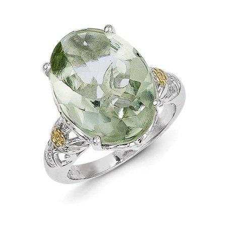 Sterling Silver w/14k Green Quartz Ring Size - Sterling Silver Green Quartz Ring