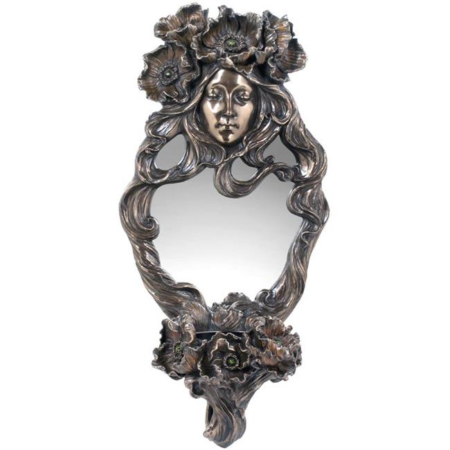 Poppy Flower and Maid Mirror with Candle Holder - image 1 de 1