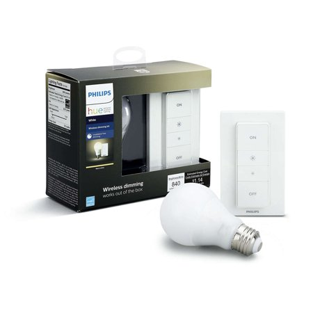 philips hue white smart a19 wireless dimming kit 60w equivalent hub required 1 bulb. Black Bedroom Furniture Sets. Home Design Ideas