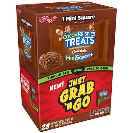 Kellogg's Cocoa Krispies Treats Grab 'N Go Chocolate MiniSquares Crispy Marshmallow Squares, 0.39 Oz., 28 Count