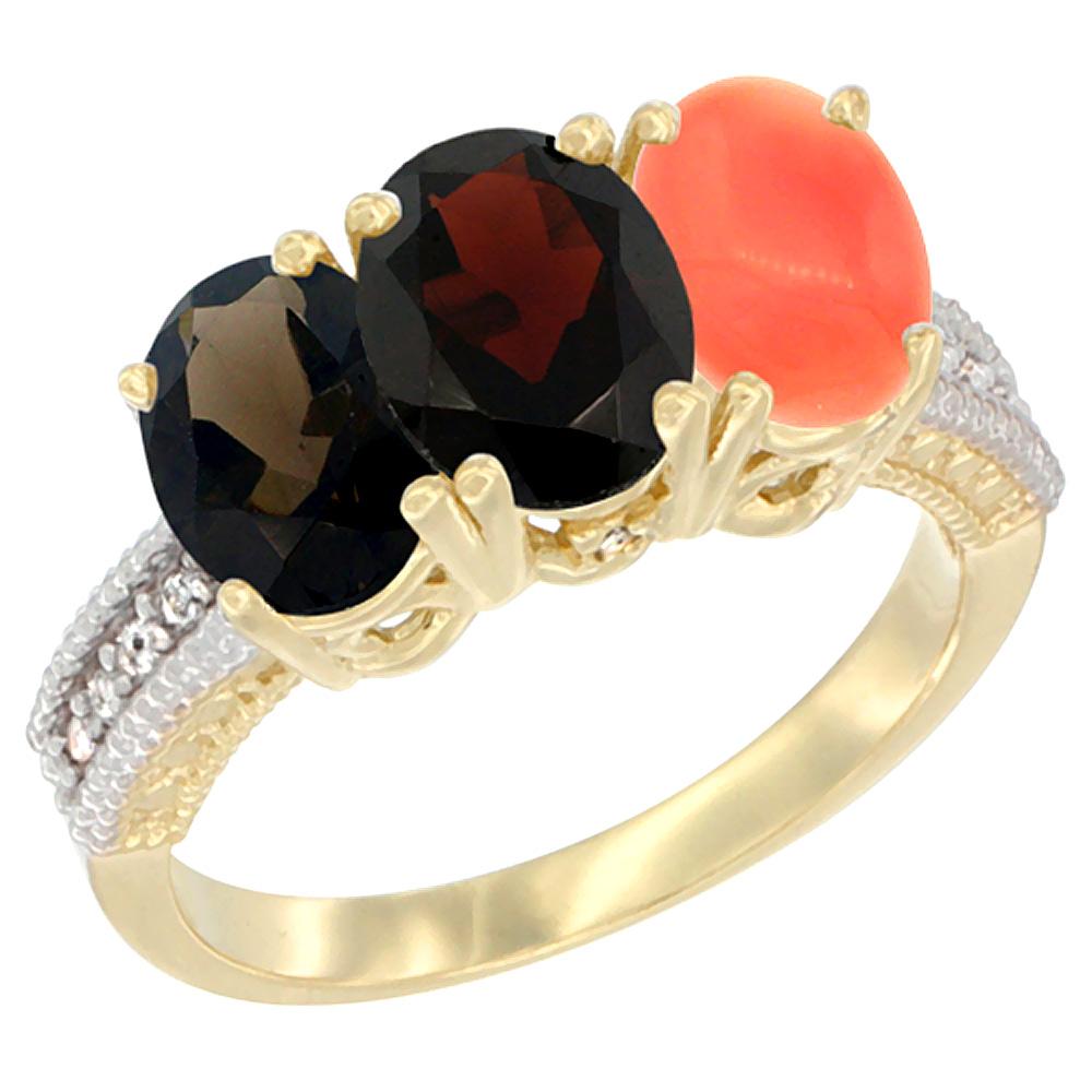 10K Yellow Gold Diamond Natural Smoky Topaz, Garnet & Coral Ring 3-Stone 7x5 mm Oval, sizes 5 10 by WorldJewels