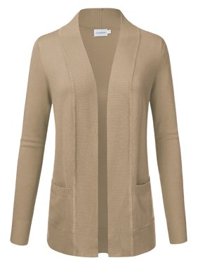 JJ Perfection Women's Solid Knit Open Front Cardigan With Pockets (Plus Size)