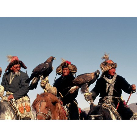 Hunters from Sagsai Sum, Bechik, Tek and Khalbek, Golden Eagle Festival, Mongolia Print Wall Art By Amos
