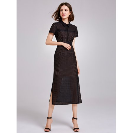 Alisa Pan Women's Elegant Tea Length Sheer Mesh Wear to Work Summer Business Shirt Midi Dresses for Women 07169 Black US