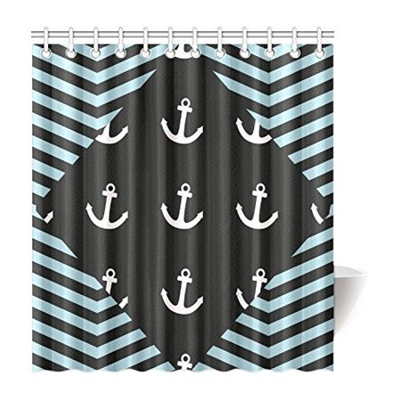 BSDHOME Nautical Chevron Anchor and Zigzag Pattern Waterproof Polyester Fabric Shower Curtain 66x72 inches - image 1 of 2