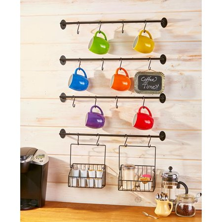 Coffee Mug Wall Rack for Coffee and Tea Cups - 6-Pc. Steel