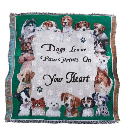 Collections Etc Adorable Paw Prints Tapestry Throw Blanket, Gift for Dog Lover's, Green Family Tapestry Throw