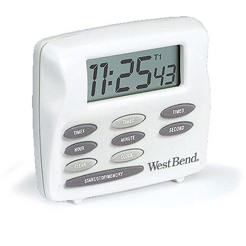 West Bend Triple Timer with Clock, White