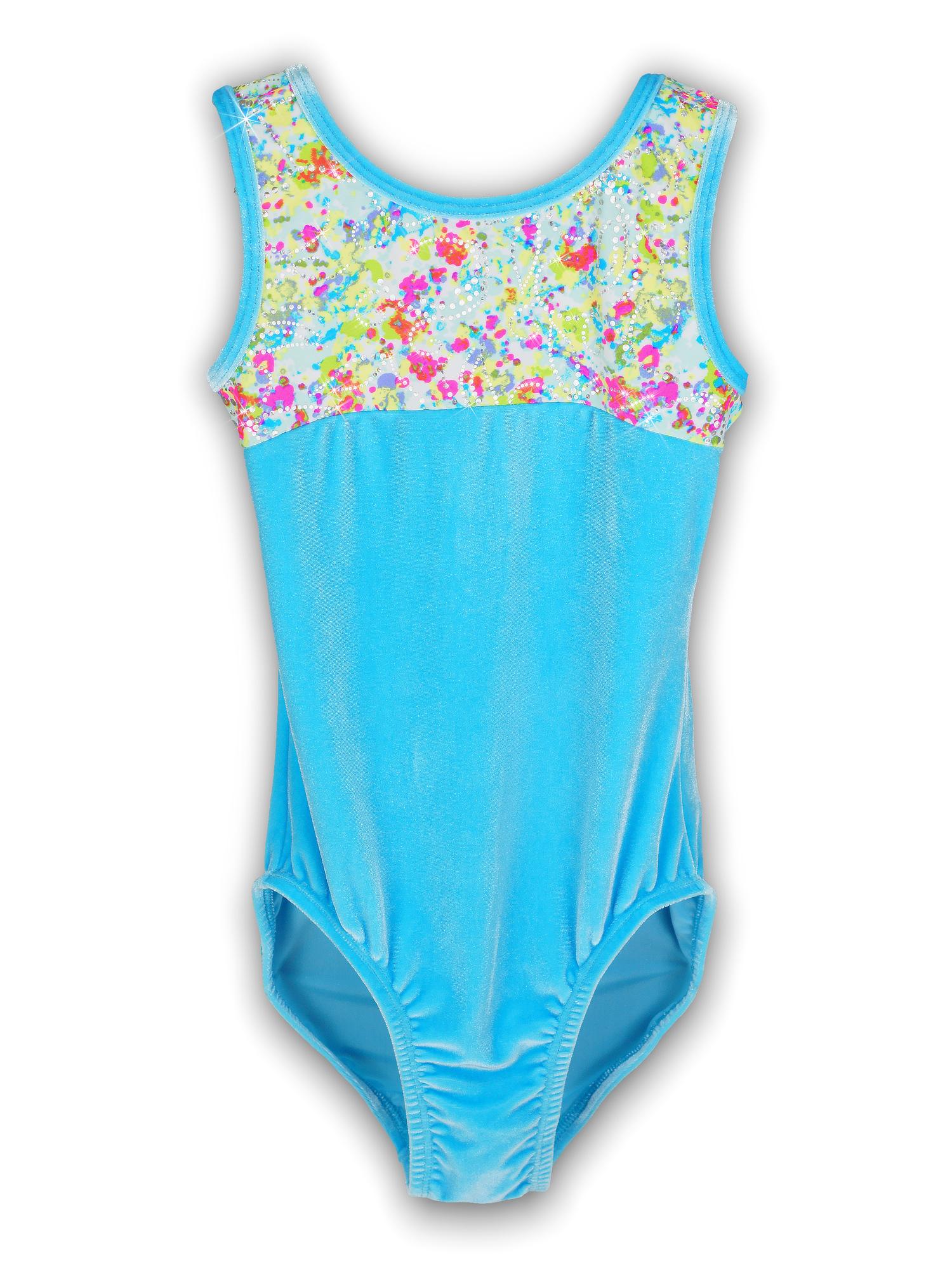 Gymnastics Leotard for Girls - Iceberg Velvet Pastel - Leap Gear by Pelle - 6 | Child Medium