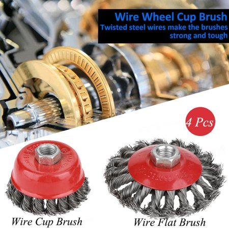 - Anauto 4Pcs Rotary Twist Knot Flat Cup Steel Wire Wheel Brush Set for Angle Grinder Rust Paint Removal, Steel Wire Cup Brush, Steel Wire Wheel Brush