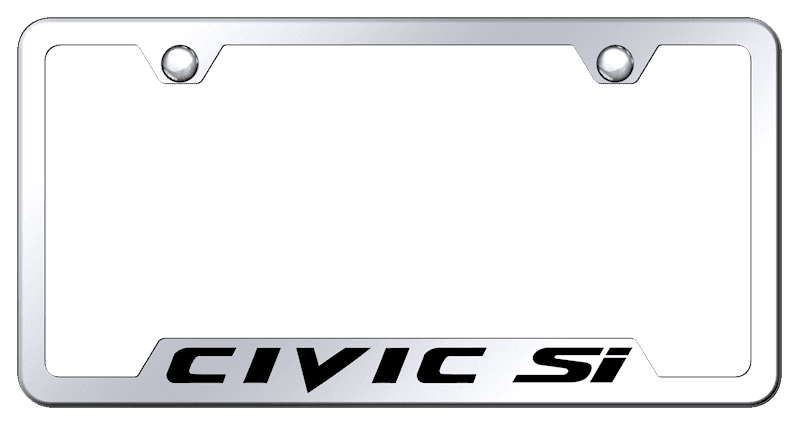 Honda Civic Si Notched Chrome Brass  License Plate Frame
