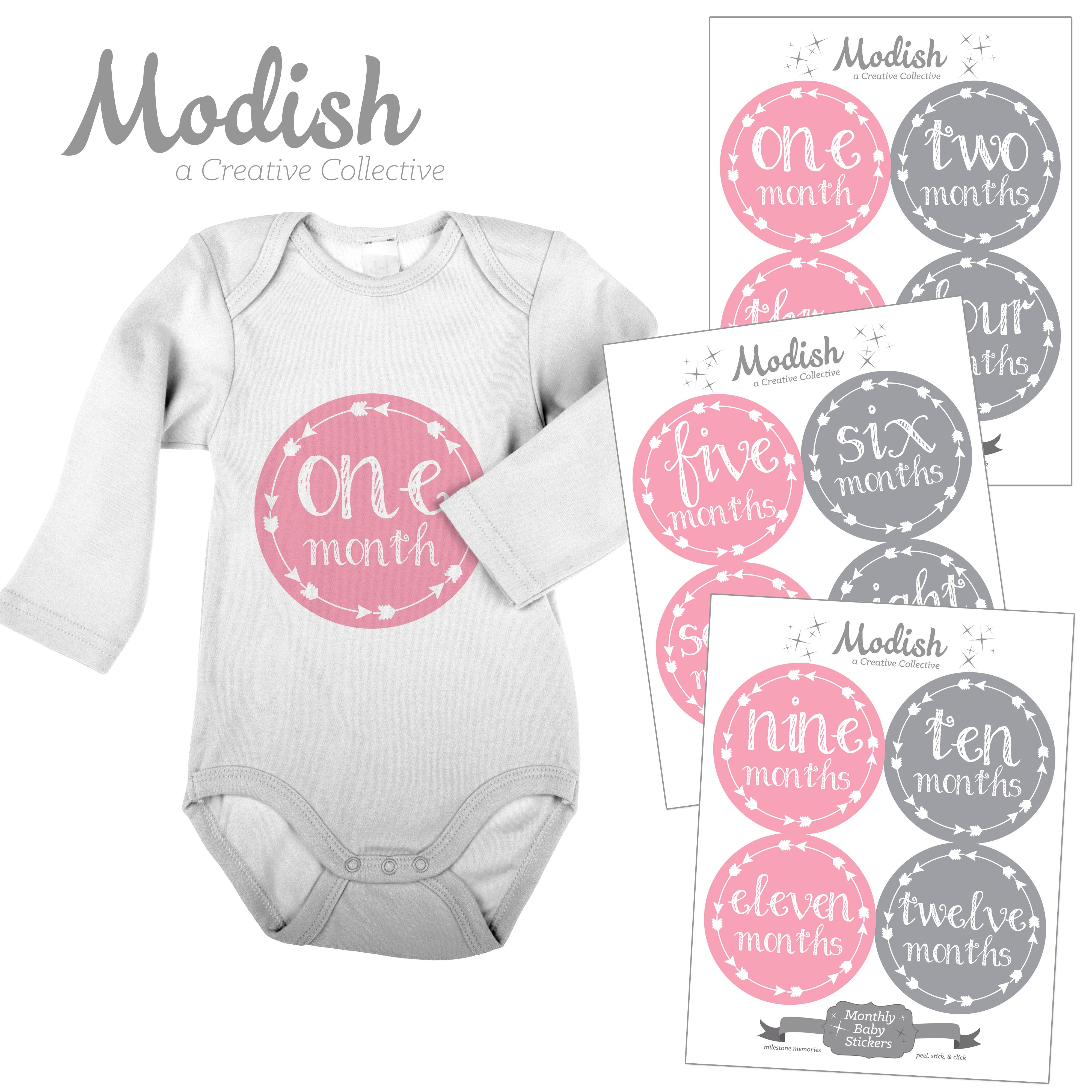Modish Monthly Baby Stickers, Girl, Arrows, Tribal, Pink, Gray, Baby Photo Prop, Baby Shower Gift, Baby Book Keepsake