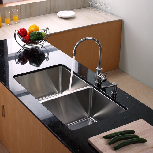 Kraus 32.75'' x 19'' Undermount Double Bowl Kitchen Sink with Faucet and Soap Dispenser