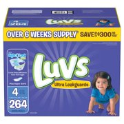 Luvs Ultra Leakguards Diapers Size Size 4 - 264 ct. - Bulk Qty, Free Shipping - Comfortable, Soft, No leaking & Good nite Diapers