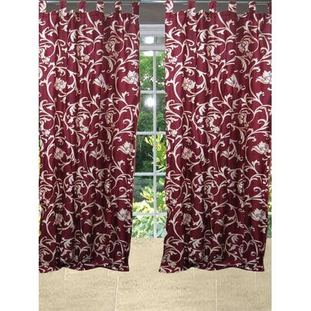Mogul Window Curtain 2 Panels Tuscan Style Maroon Scroll  Drapes Tab Top  Length 96