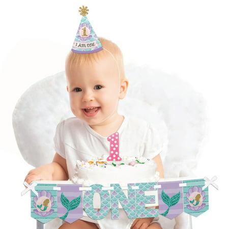 Let's Be Mermaids - 1st Birthday Girl Smash Cake Decorating Kit - High Chair - Cake Smash Girl