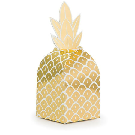 Club Pack of 48 Glittering Gold and Foil Stamped Pineapple Decorative Favor Boxes 10.5