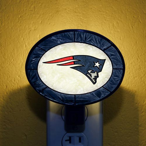 New England Patriots Hand-Painted Glass Nightlight - No Size