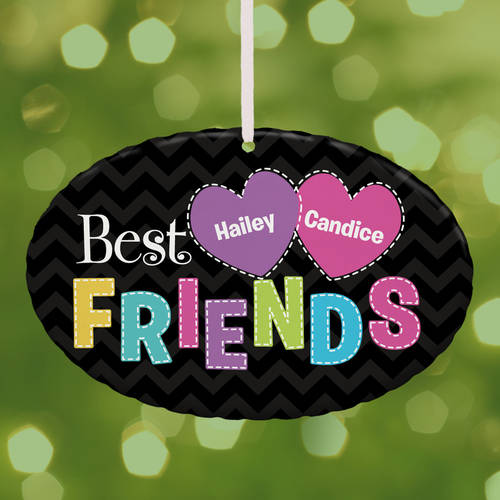 Personalized Best Friends Oval Christmas Ornament