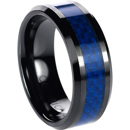 Daxx Mens Ceramic Blue Carbon Inlay Ring