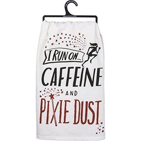 Primitives by Kathy Glitter Kitchen Towel - I Run On Caffine and Pixie Dust ()