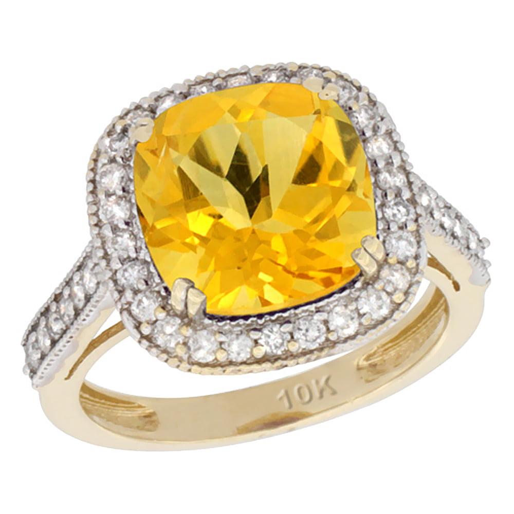 14K Yellow Gold Natural Citrine Ring Cushion-cut 10x10mm Diamond Halo, size 5.5 by Gabriella Gold