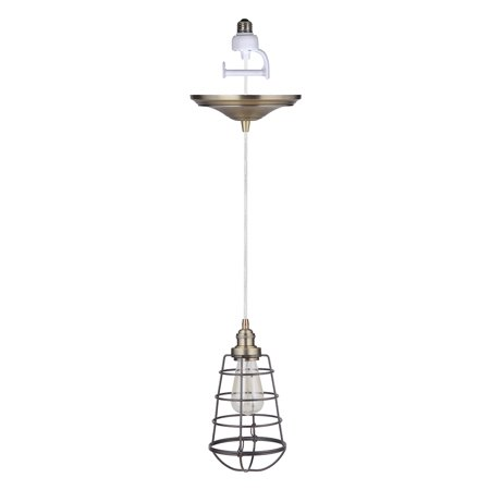 Instant Pendant Recessed Light Conversion Kit Brushed Brass and Brushed Bronze Wire Cage Shade ()